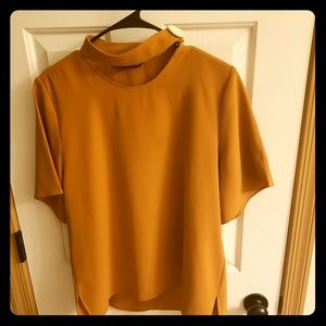 XL Zara mustard yellow blouse with button